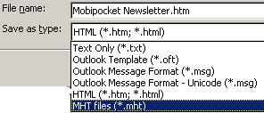 Outlook message - Save As options image from Do you need to print messages at all? at Office-Watch.com