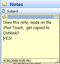 1315 Outlook Note from iPod touch appears in Outlook - Outlook Notes sync to iTouch / iPhone now available