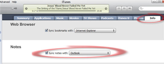 1315 iTunes Sync Notes option in iTunes v9.1 - Outlook Notes sync to iTouch / iPhone now available