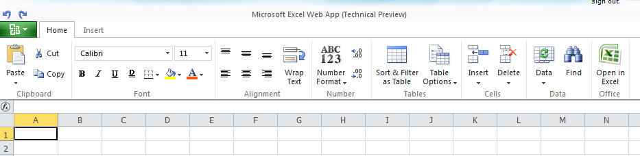 1318 Office Web Applications Excel main view - Office Web Applications - half measures for now