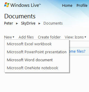 Office Web Applications - New document pull-down menu.jpg image from Office Web Applications – half measures for now at Office-Watch.com