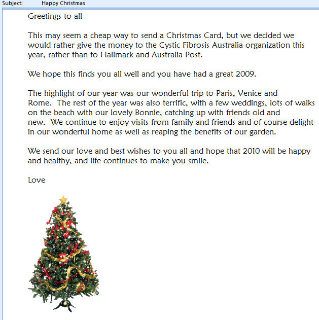 Outlook - Christmas email sample image from Sending a Christmas email at Office-Watch.com