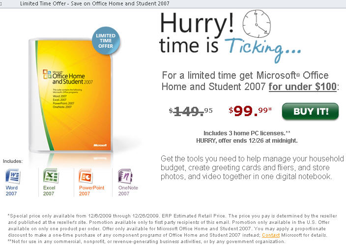 Office 2007 - December 2009 offer for Home and Student image from Microsoft