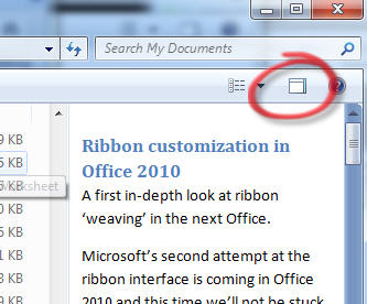 Windows 7 - Preview pane and button image from Fixing PDF Preview in Windows 7 at Office-Watch.com