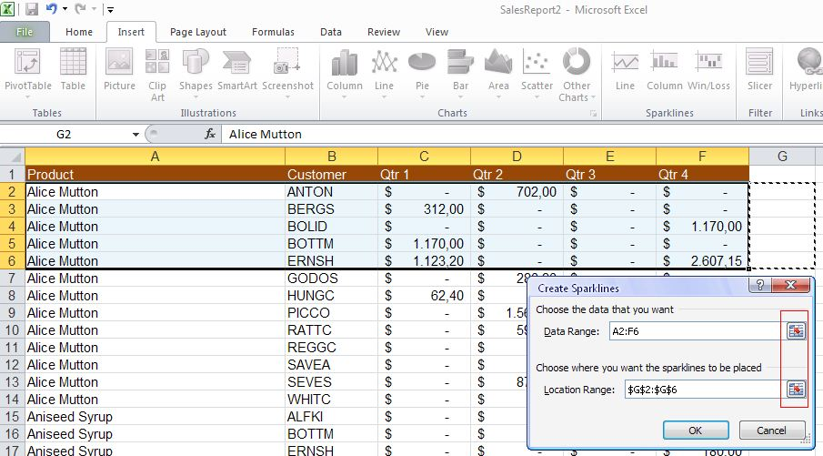 Excel 2010 - Sparklines - add cell details image from Sparklines in Excel 2010 at Office-Watch.com
