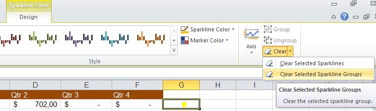 Excel 2010 - clear or delete Sparkline image from Sparklines in Excel 2010 at Office-Watch.com