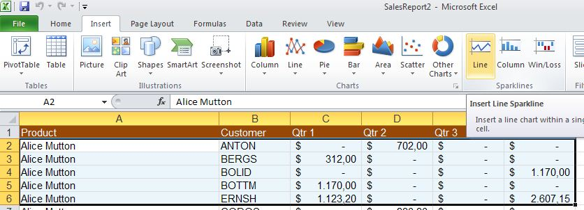 Excel 2010 - create sparkline image from Sparklines in Excel 2010 at Office-Watch.com