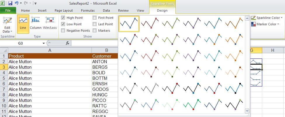 Excel 2010 - edit sparkline image from Sparklines in Excel 2010 at Office-Watch.com
