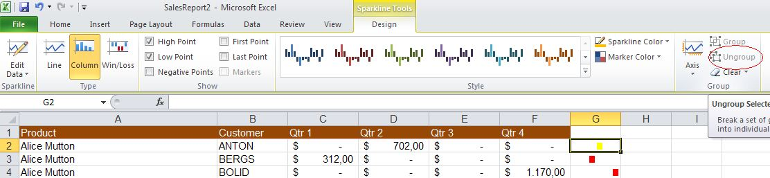 Excel 2010 - breaking Sparkline group image from Sparklines in Excel 2010 at Office-Watch.com