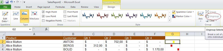 1369 Ungroup sparklines - Sparklines make simple graphs for Excel