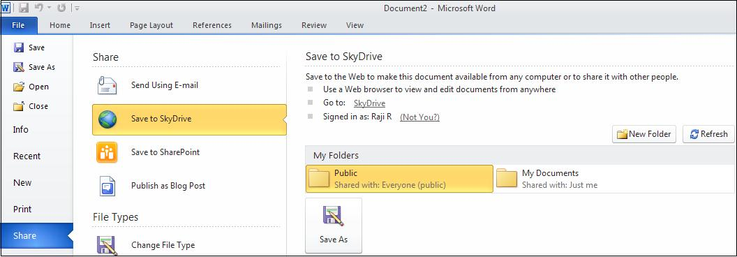 Office Web Applications - Save to Skydrive image from Getting started with Office Web Applications at Office-Watch.com