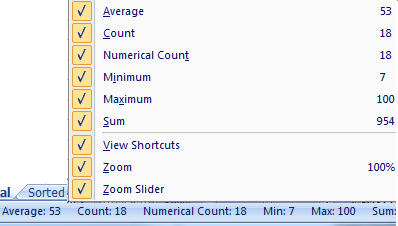 1387 Excel 2007 Status Bar stats - Status Bar stats in Excel