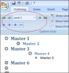 Word - Master document structure with outline levels image from Master Documents without pain at Office-Watch.com