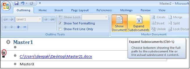1397 subdoc2 - Opening a Master Document