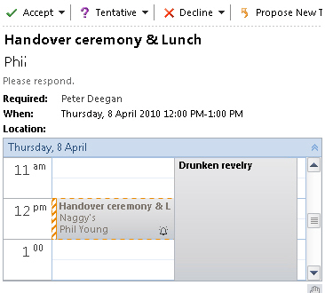 Outlook 2010 - showing appointment with conflict image from Outlook 2010 - calendar preview of appointments at Office-Watch.com