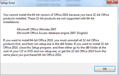 Office 2010 - 64 bit install error image from Installing Office 2010 64-bit at Office-Watch.com