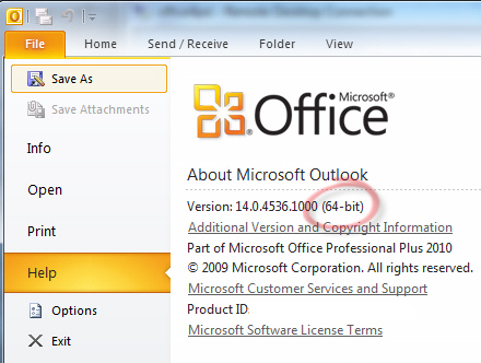 Office 2010 - About for 64-bit version image from Installing Office 2010 64-bit at Office-Watch.com