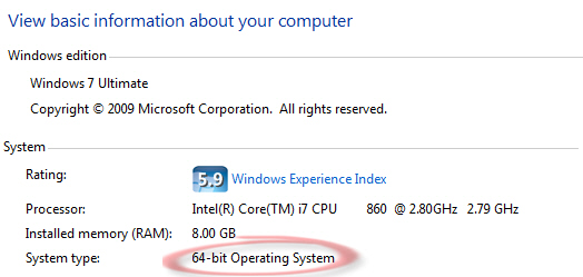 Windows 7 - 64-bit note in system information image from Installing Office 2010 64-bit at Office-Watch.com