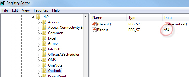 1405 Outlook 2010 Bitness registry key - Office 32-bit or 64-bit - which version is installed?