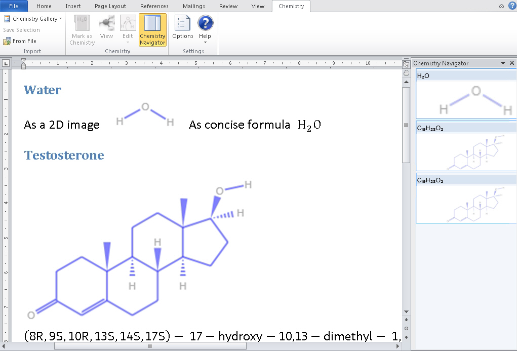 Chemistry add-in for Word - sample screen and navigator image from Chemistry in Word at Office-Watch.com
