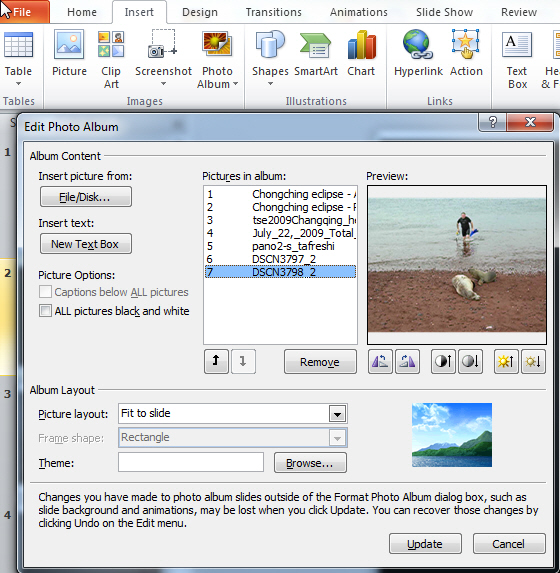 1413 Powerpoint 2007 2010 Photo Album options - PowerPoint 2007 photo albums