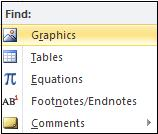 Word 2010 - find graphics, tables, equations, footnotes or comments image from Navigation Pane in Word 2010 at Office-Watch.com