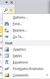 Word 2010 - Extended Find Search options image from Navigation Pane in Word 2010 at Office-Watch.com