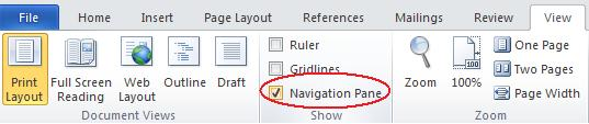Word 2010 - View ribbon - Navigation Pane option image from Navigation Pane in Word 2010 at Office-Watch.com
