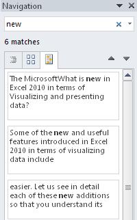 Word 2010 - Search excerpt view image from Navigation Pane in Word 2010 at Office-Watch.com