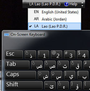 Windows - Language Bar and On-Screen keyboard.jpg image from Virtual Keyboard for Office at Office-Watch.com