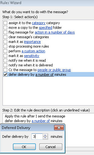 Outlook - defer delivery setting.jpg image from Delaying email in Outlook at Office-Watch.com