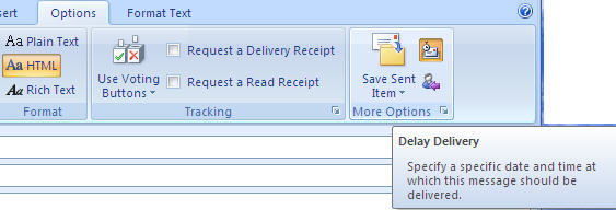 Outlook 2007 - delay delivery button - small version.jpg image from Delaying email in Outlook at Office-Watch.com