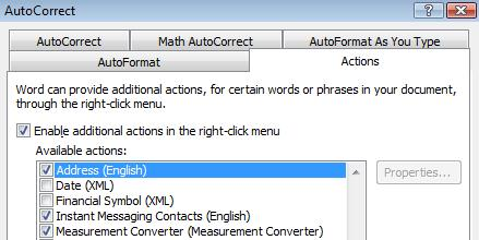 Select Autocorrect option.jpg image from Measurement Converter Smart Tag / Action at Office-Watch.com