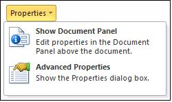 Properties options.jpg image from Properties options in Office 2010 at Office-Watch.com