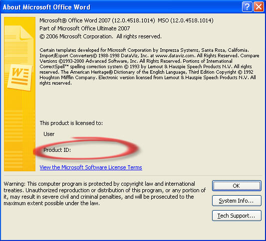 Word 2007 - Product ID on the About dialog.jpg image from Saving on Office 2010 by getting Office 2007 now at Office-Watch.com