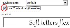 Contextual alternate.jpg image from OpenType Ligatures in Office 2010 at Office-Watch.com
