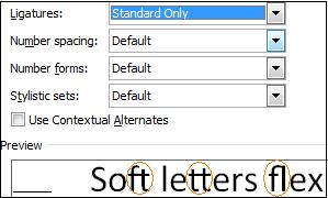 Word 2010 - Ligature standard image from OpenType Ligatures in Office 2010 at Office-Watch.com
