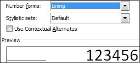 Lining number form.jpg image from OpenType Ligatures in Office 2010 at Office-Watch.com