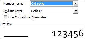 Oldstyle number form.jpg image from OpenType Ligatures in Office 2010 at Office-Watch.com