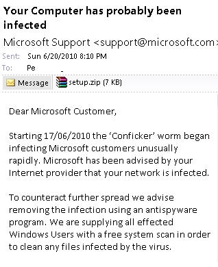 Fake email - Microsoft support.jpg image from Fake emails missed by Outlook at Office-Watch.com