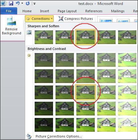 Correction menu.jpg image from Image Correction in Office 2010 at Office-Watch.com