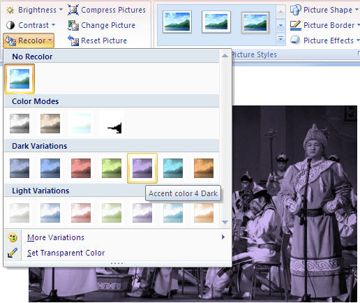 Office 2007 - Image recolor options.jpg image from Image Correction in Office 2010 at Office-Watch.com