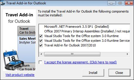 Install confirm.jpg image from Travel time add-in for Outlook at Office-Watch.com