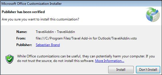 Office Customization installer.jpg image from Travel time add-in for Outlook at Office-Watch.com
