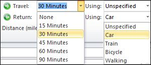 Travel options.jpg image from Travel time add-in for Outlook at Office-Watch.com