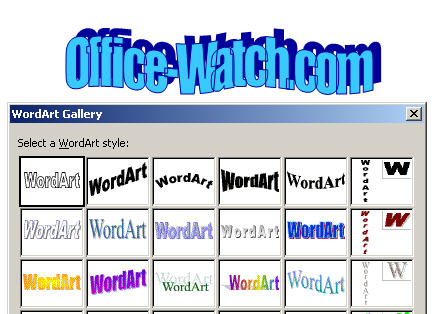 Word 2003 - WordArt.jpg image from Text Effects in Word 2003 and Word 2007 at Office-Watch.com
