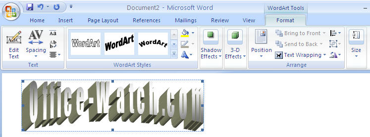 Word 2007 - WordArt ribbon.jpg image from Text Effects in Word 2003 and Word 2007 at Office-Watch.com
