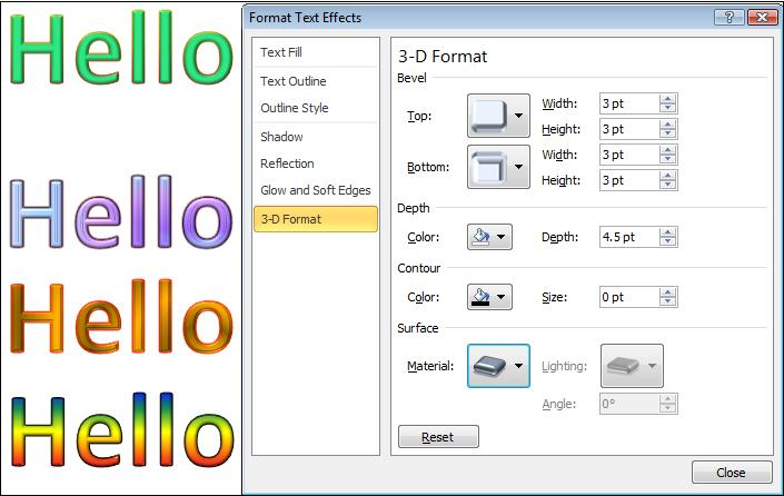 1475 Format 3D effect - More Text Effects in Word 2010