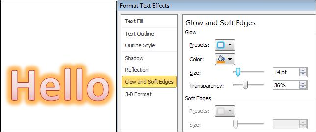 Format glow.jpg image from More Text Effects in Word 2010 at Office-Watch.com