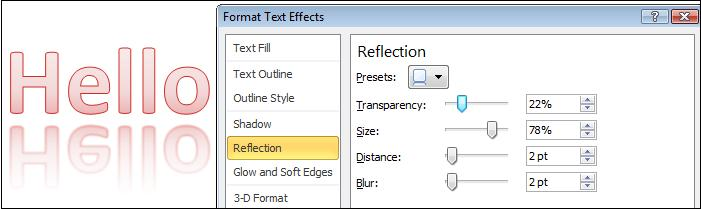 Format reflection.jpg image from More Text Effects in Word 2010 at Office-Watch.com